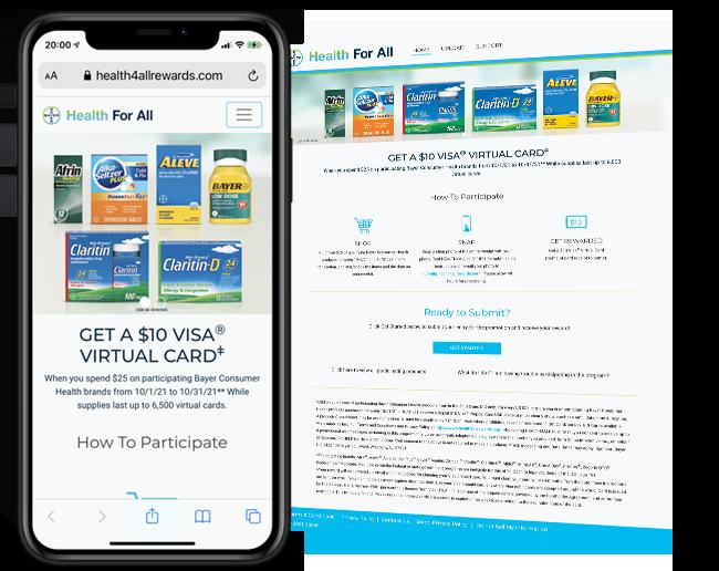 Bayer Healthcare - Spend 25 Get 10 Virtual Visa Promotion web