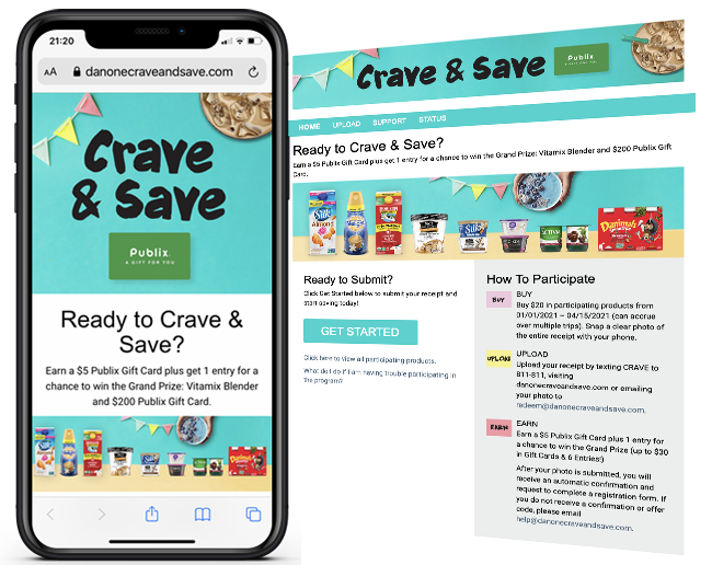 Danone Crave and Save Publix Gift card web