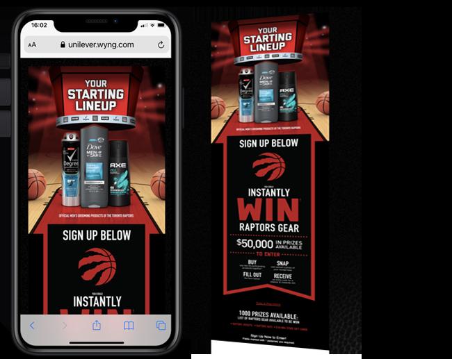 LPI Group INC. Unilever CA Mens Grooming Raptors Instant Win web