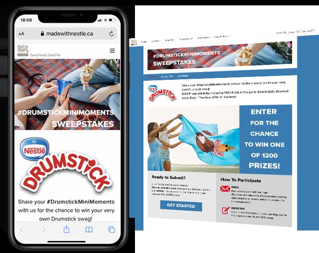 Nestle CA 365 Drumstick Social Sweeps web