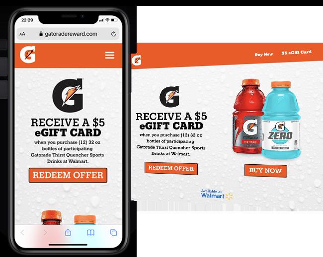 RSM - Gatorade Gift Card Program Walmart web