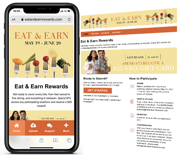 The Macerich Company Eat and Earn Dining Promotion web